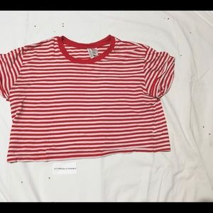 Red and White Stripped Crop Top [M]